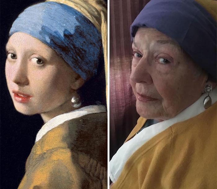 یکی از نتایج پرنشاط قرنطینه کرونایی: بازسازی این تابلوهای کلاسیک توسط مادر 83 ساله!